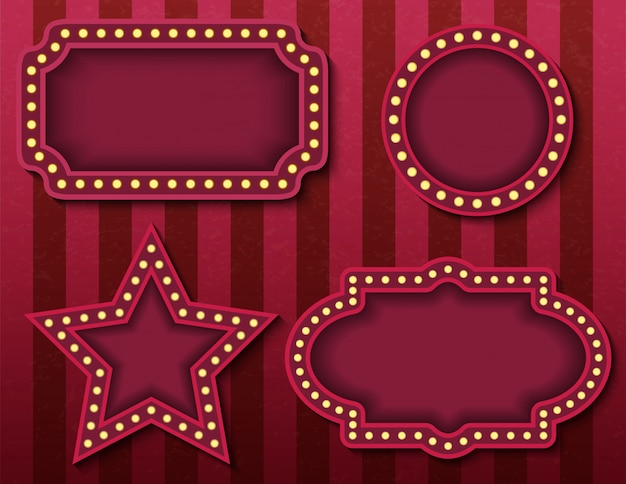 Insegne circensi. stock insegne luminose al neon retrò cinema incandescente stock. modelli di banner spettacolo serale stile circo. immagini di poster di sfondo Vettore Premium