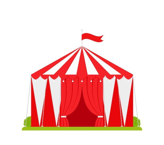 Tendone da circo. tendone di carnevale. circo bianco rosso del festival con ingresso aperto e bandiera Vettore Premium