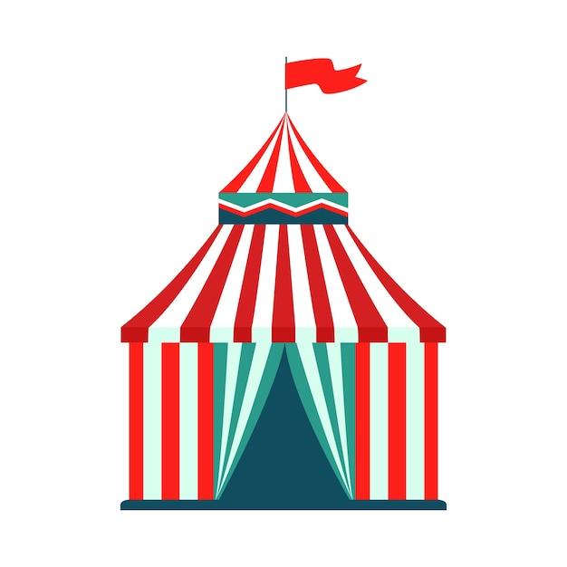 Tendone da circo - attrazione isolata di carnevale del parco di divertimenti Vettore Premium
