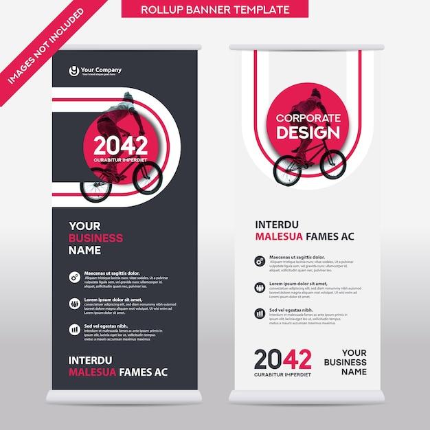 Modello di progettazione di roll up di affari di sfondo della città. può essere adattato a brochure, report annuali, riviste, poster, presentazioni aziendali, flyer, siti web Vettore Premium