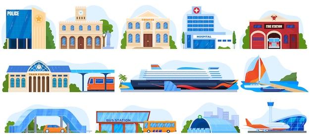 Edifici della città, serie di illustrazioni di architettura. servizi sociali. Vettore Premium