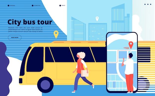 Tour in autobus della città Vettore Premium