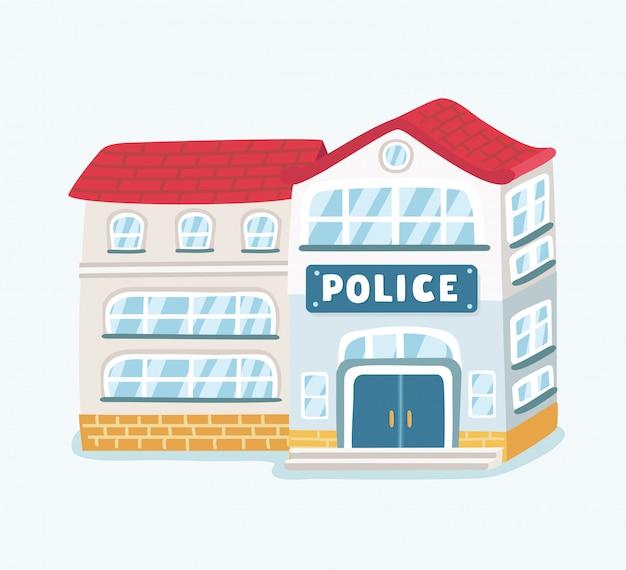 Edificio del dipartimento della stazione di polizia della città nel paesaggio con il poliziotto e la macchina della polizia in stile su priorità bassa bianca Vettore Premium