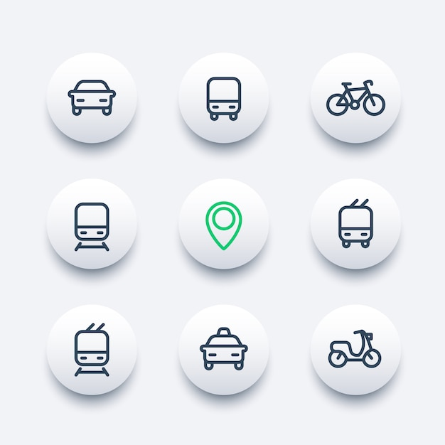 Icone moderne rotonde di trasporto pubblico e della città, icone di vettore di trasporto pubblico, autobus, metropolitana, taxi, pittogrammi di trasporto pubblico, set di icone di linea spessa, Vettore Premium
