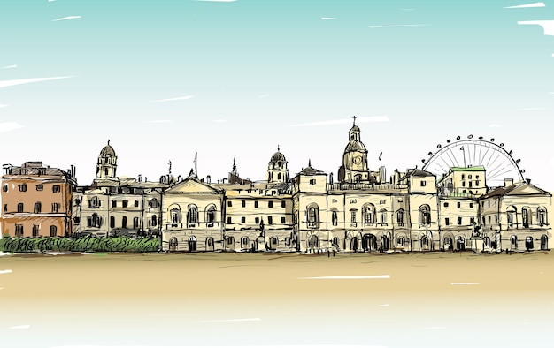 City scape drawing in london, england, show old castle and carousel, illustration Vettore Premium