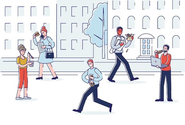Strada di città con persone che mangiano mentre si cammina. Vettore Premium