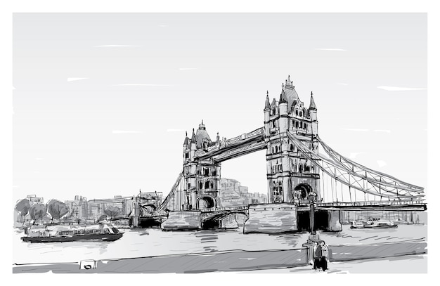 Cityscape disegno schizzo tower bridge, londra, inghilterra, illustrazione Vettore Premium