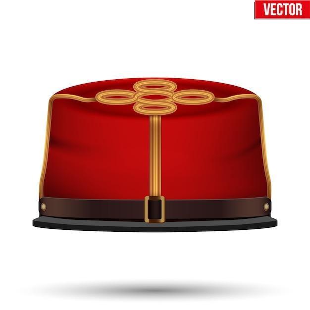 Capitano di artiglieria confederata della guerra civile kepi. cappello confederato. vista frontale. illustrazione su uno sfondo bianco. Vettore Premium