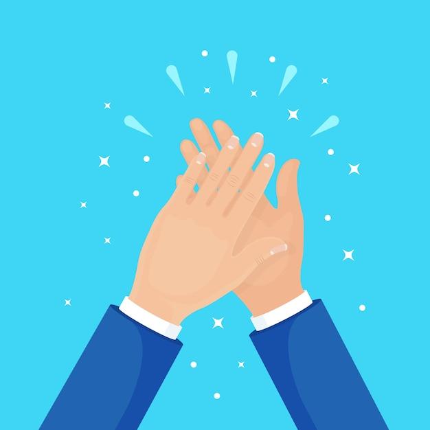 Battere le mani sullo sfondo. uomo d'affari che applaude. Vettore Premium