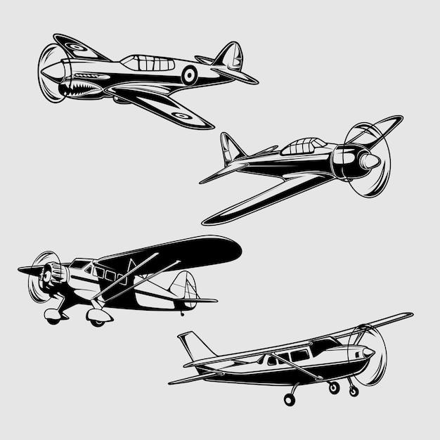 Illustrazione di aeroplano classico Vettore Premium