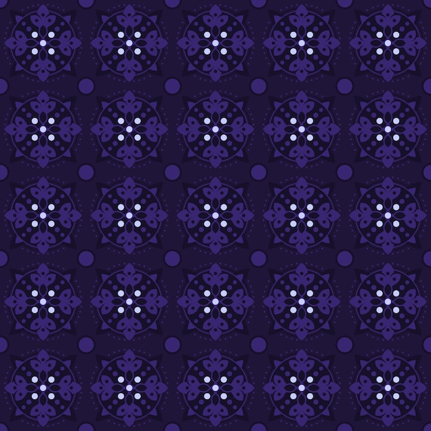 Fondo senza cuciture classico batik. carta da parati geometrica di lusso mandala. elegante motivo floreale tradizionale in colore viola Vettore Premium