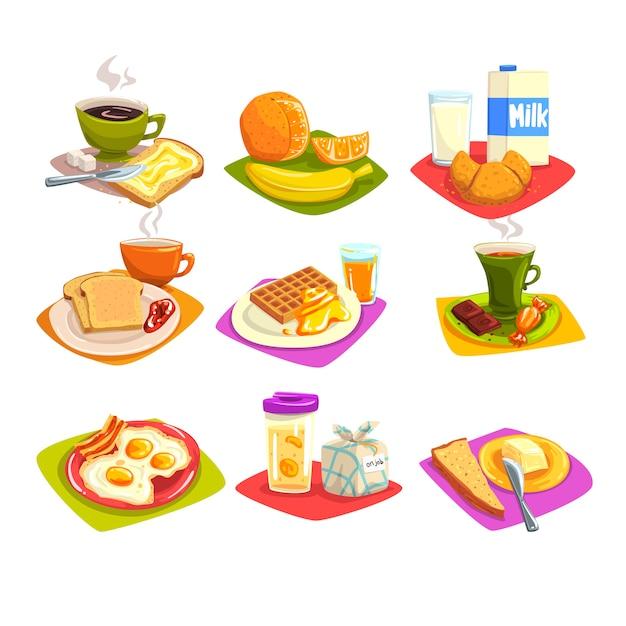Set di idee per la colazione classica Vettore Premium