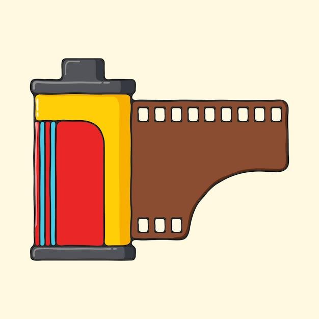 Illustrazione disegnata a mano di stile di pop art del rotolo classico della macchina fotografica. Vettore Premium