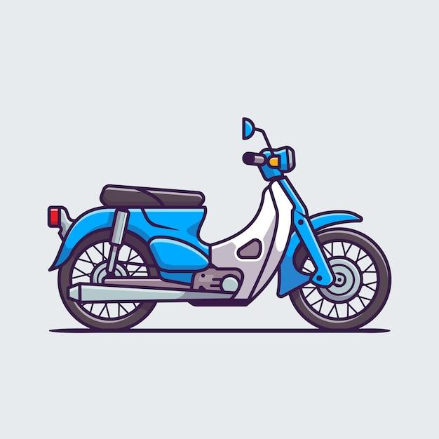 Illustrazione dell'icona del fumetto del motociclo classico. concetto dell'icona del veicolo del motociclo isolato. stile cartone animato piatto Vettore Premium