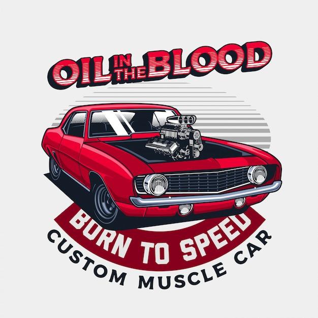 Motore di automobile del muscolo hotrod rosso classico Vettore Premium