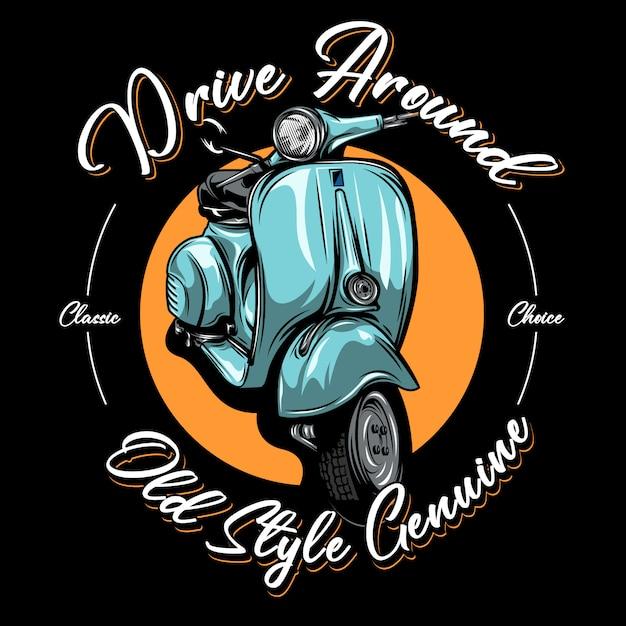 Illustrazione di scooter classico Vettore Premium