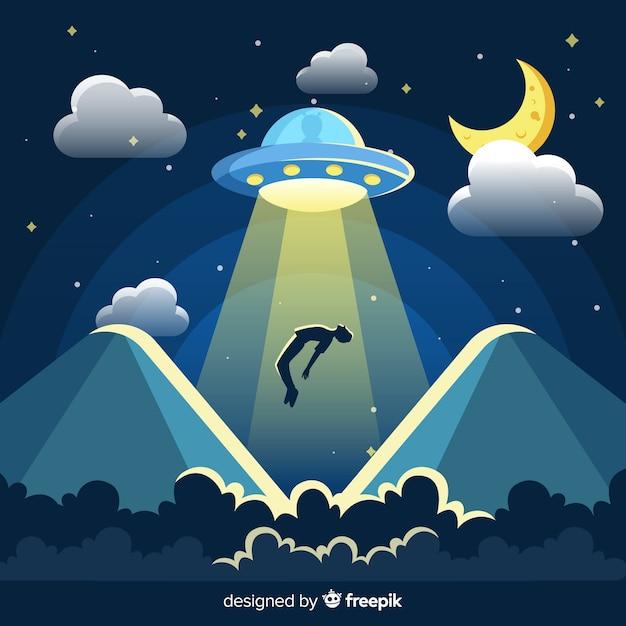 Classico concetto di abduction ufo con design piatto Vettore Premium