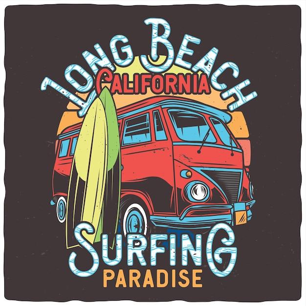 Furgone classico e tavole da surf Vettore Premium