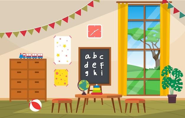 Illustrazione della scuola dei bambini di scuola materna elementare di educazione interna dell'aula Vettore Premium