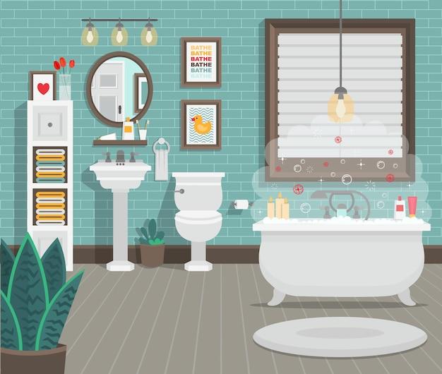 Bagno pulito con wc lavabo vasca e accessori in stile moderno. illustrazione vettoriale piatto. Vettore Premium