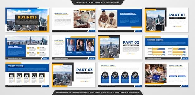 Modello di presentazione aziendale pulito stile premium Vettore Premium