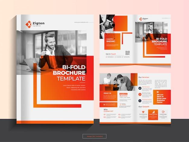 Modello di progettazione brochure aziendale pulito pieghevole in formato a4. Vettore Premium