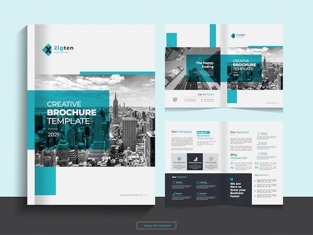 Pulire il modello di progettazione brochure aziendale bi fold aziendale in formato a4. Vettore Premium