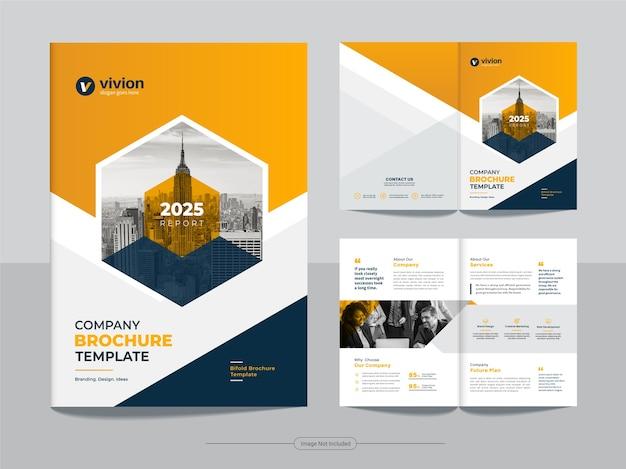 Pulire il modello di progettazione brochure aziendale bi fold aziendale con colore giallo sfumato Vettore Premium