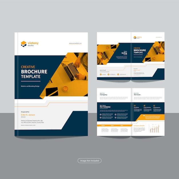 Pulire il modello di progettazione brochure aziendale bi fold aziendale Vettore Premium