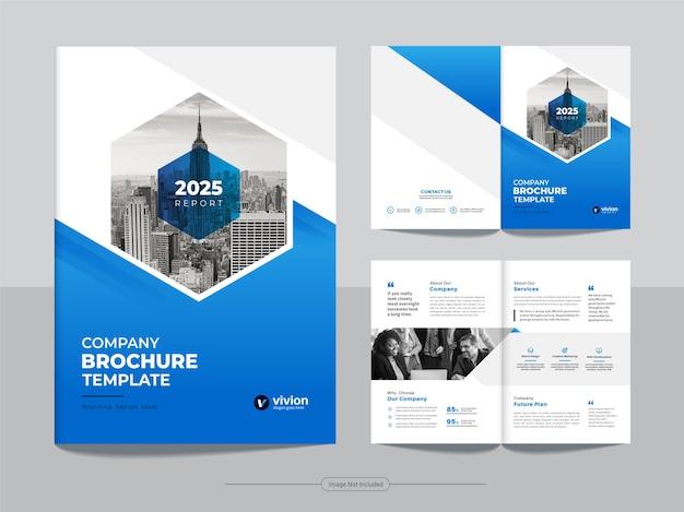 Pulire il modello di progettazione brochure aziendale bifold aziendale con colore blu sfumato Vettore Premium