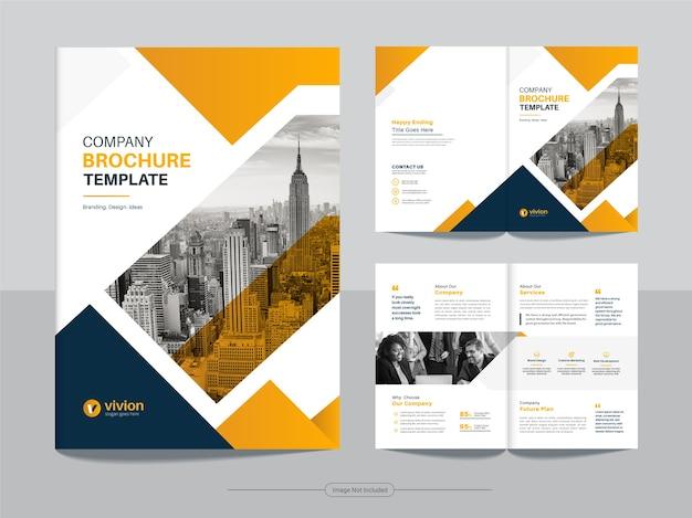 Pulire il modello di progettazione brochure aziendale bifold aziendale con colore giallo sfumato Vettore Premium
