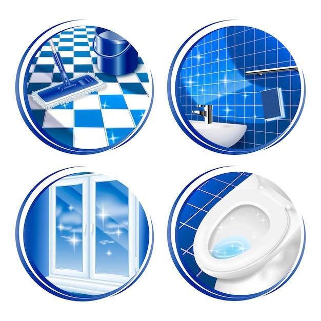 Icona della superficie della casa di pulizia Vettore Premium