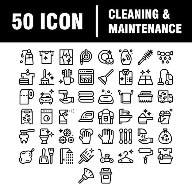 Icone della linea di pulizia. icone di lavanderia, spugna per finestre e aspirapolvere. lavatrice, servizio di pulizia e pulizia domestica. pulizia vetri, pulizia, lavatrice. Vettore Premium