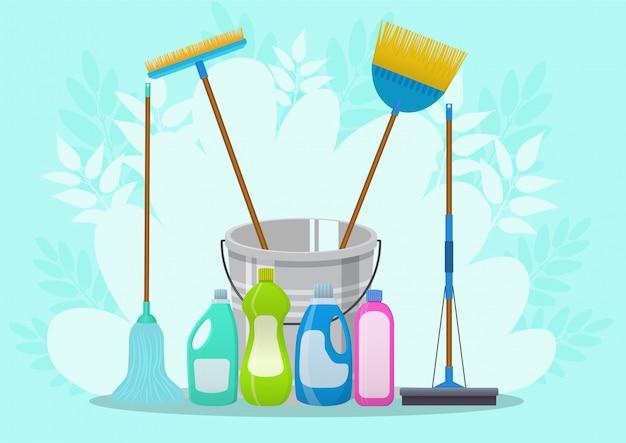 Illustrazione del servizio di pulizia. modello di poster per servizi di pulizia della casa con vari strumenti di pulizia Vettore Premium