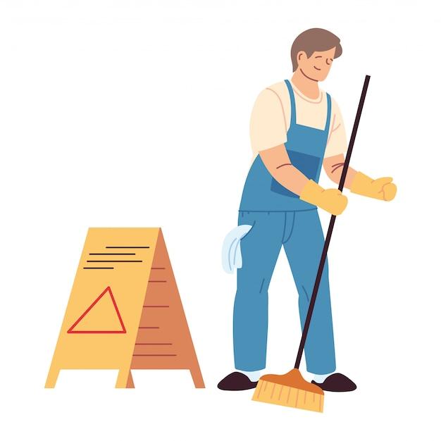 Uomo di servizio di pulizia con guanti e utensili per la pulizia Vettore Premium