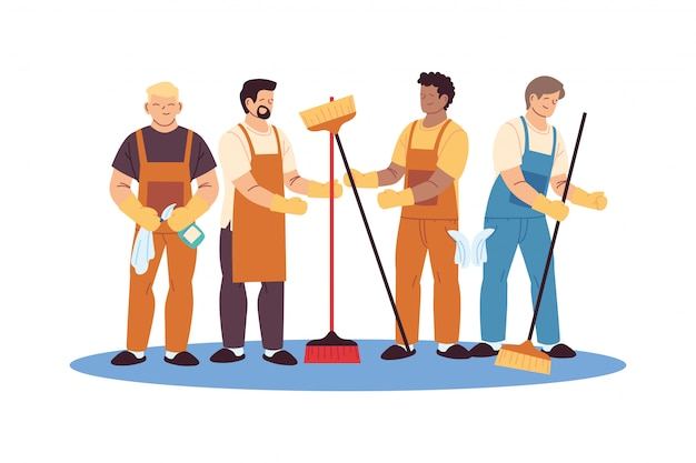 Uomini di servizio di pulizia con guanti e utensili per la pulizia Vettore Premium