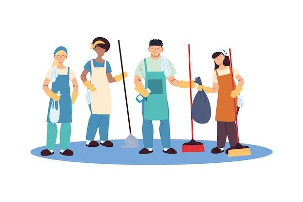 Squadra di servizio di pulizia con guanti e utensili per la pulizia Vettore Premium