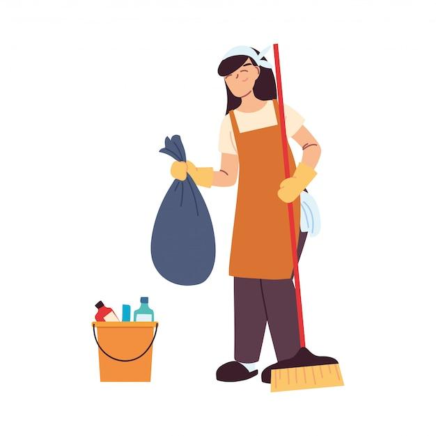Donna di servizio di pulizia con guanti e utensili per la pulizia Vettore Premium