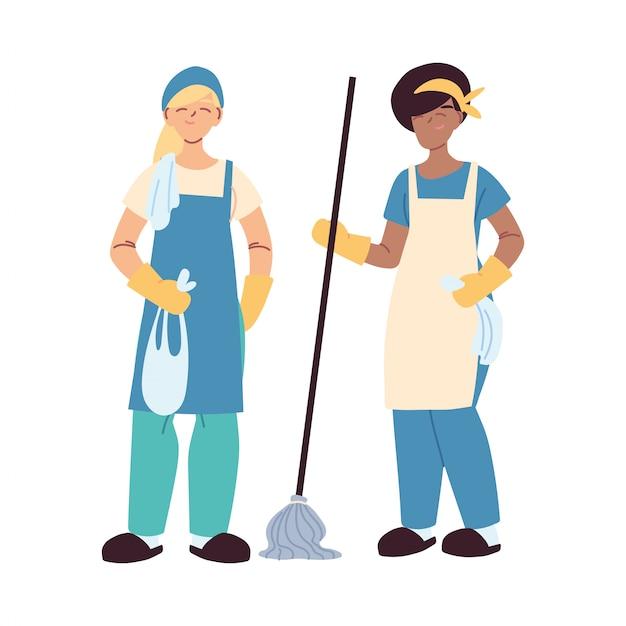 Donne di servizio di pulizia con guanti e utensili per la pulizia Vettore Premium
