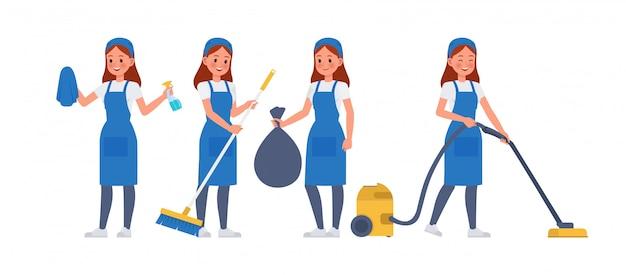 Set di caratteri del personale di pulizia Vettore Premium