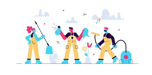 Squadra di pulizia come persone minuscole di affari di servizio di igiene professionale. lavare sanitari e bidello come professione di lavoro e illustrazione di occupazione. scena del processo di pulizia della disinfezione Vettore Premium