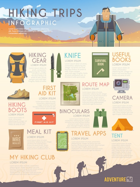 Infografica di arrampicata Vettore Premium