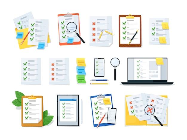 Elenco di controllo degli appunti, elenco di controllo in linea e documento cartaceo Vettore Premium