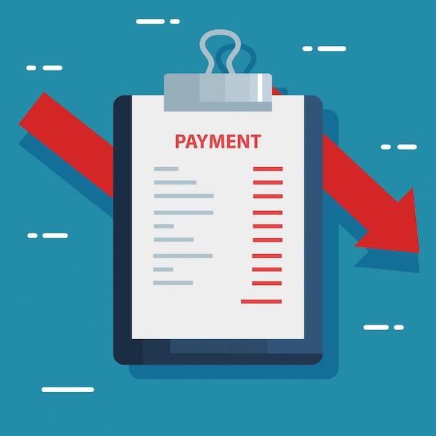 Appunti e documento con informazioni di pagamento Vettore Premium