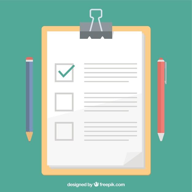Appunti e prova design piatto Vettore Premium