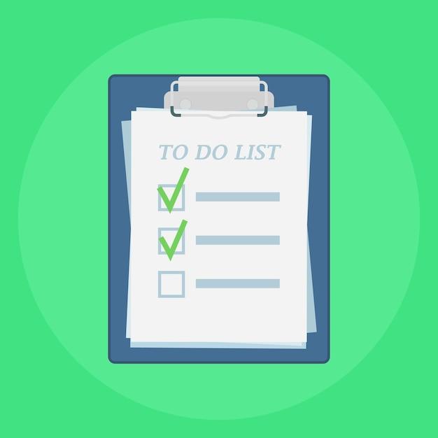 Appunti con l'illustrazione dell'elenco delle cose da fare Vettore Premium
