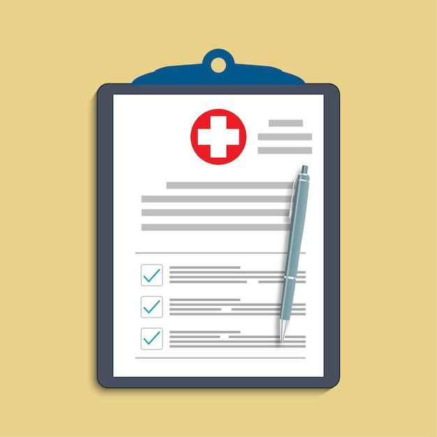 Appunti con croce medica e penna. cartella clinica, prescrizione, reclamo, rapporto di segni di spunta medici, concetti di assicurazione sanitaria. Vettore Premium