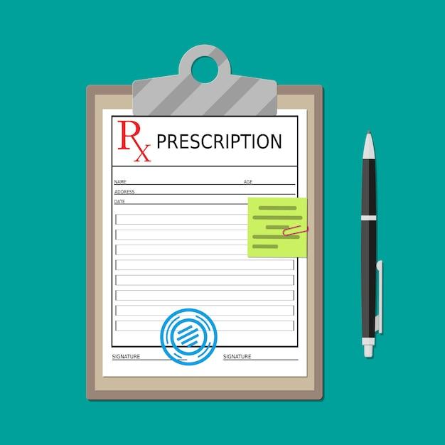 Appunti con documento di prescrizione e penna Vettore Premium