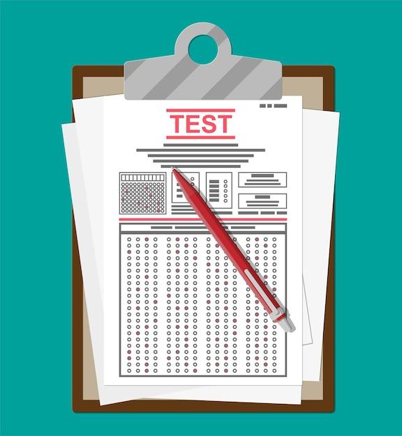 Appunti con moduli per sondaggi o esami e penna. Vettore Premium