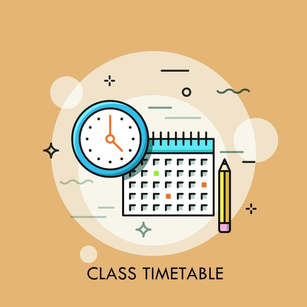 Orologio, calendario e matita. concetto di orario o programma delle lezioni, creazione del piano di studio personale. Vettore Premium